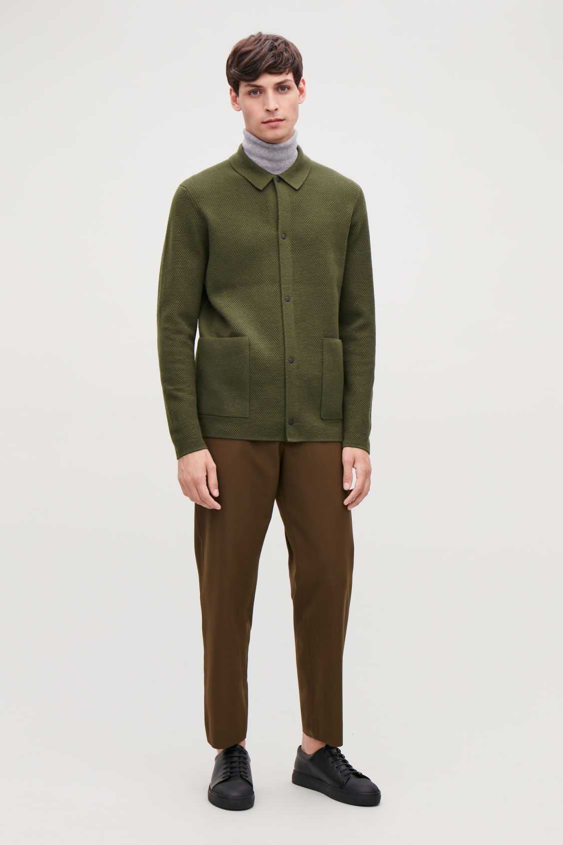 Model front image of Cos structured cardigan in green