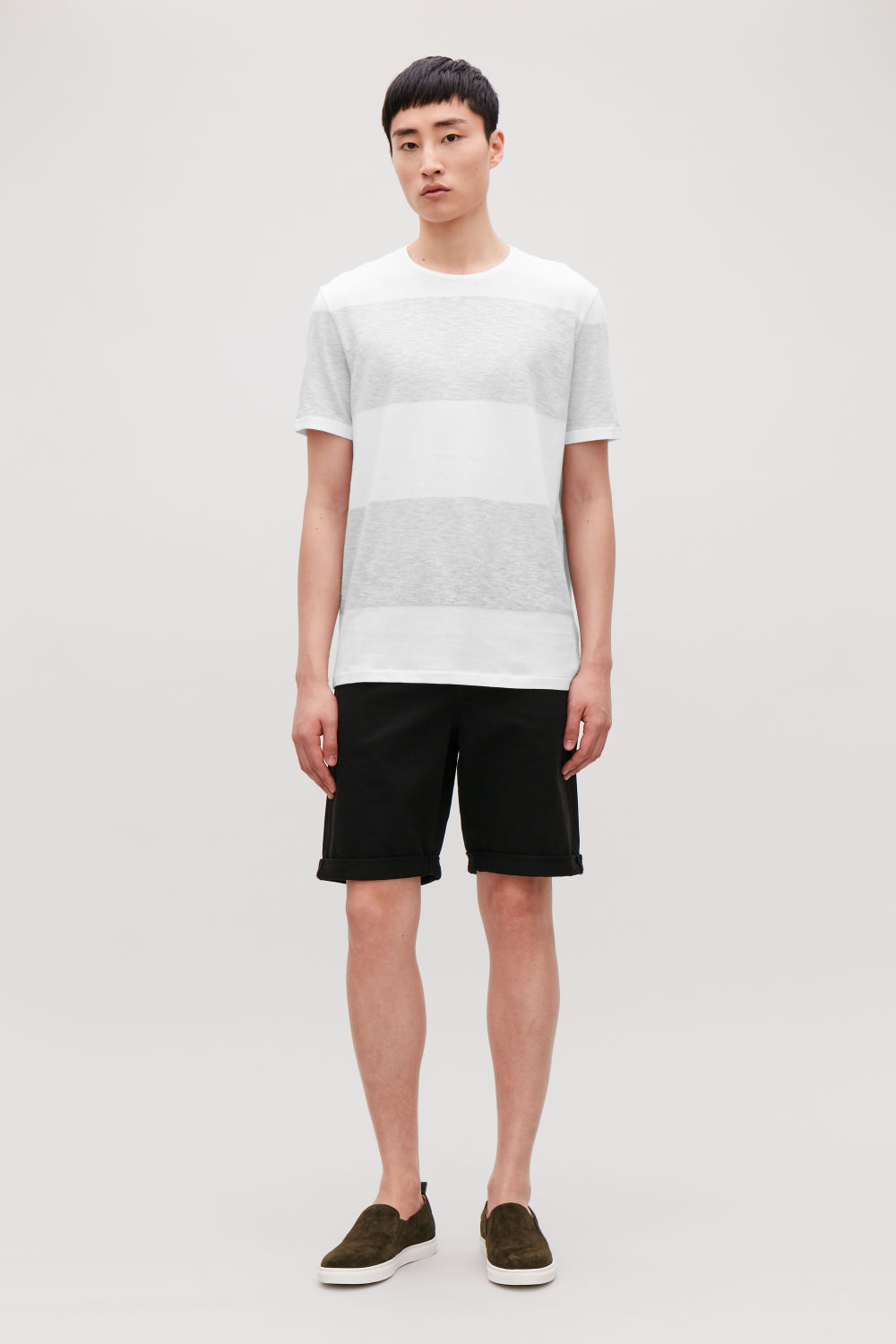 STRIPED COTTON-LINEN T-SHIRT