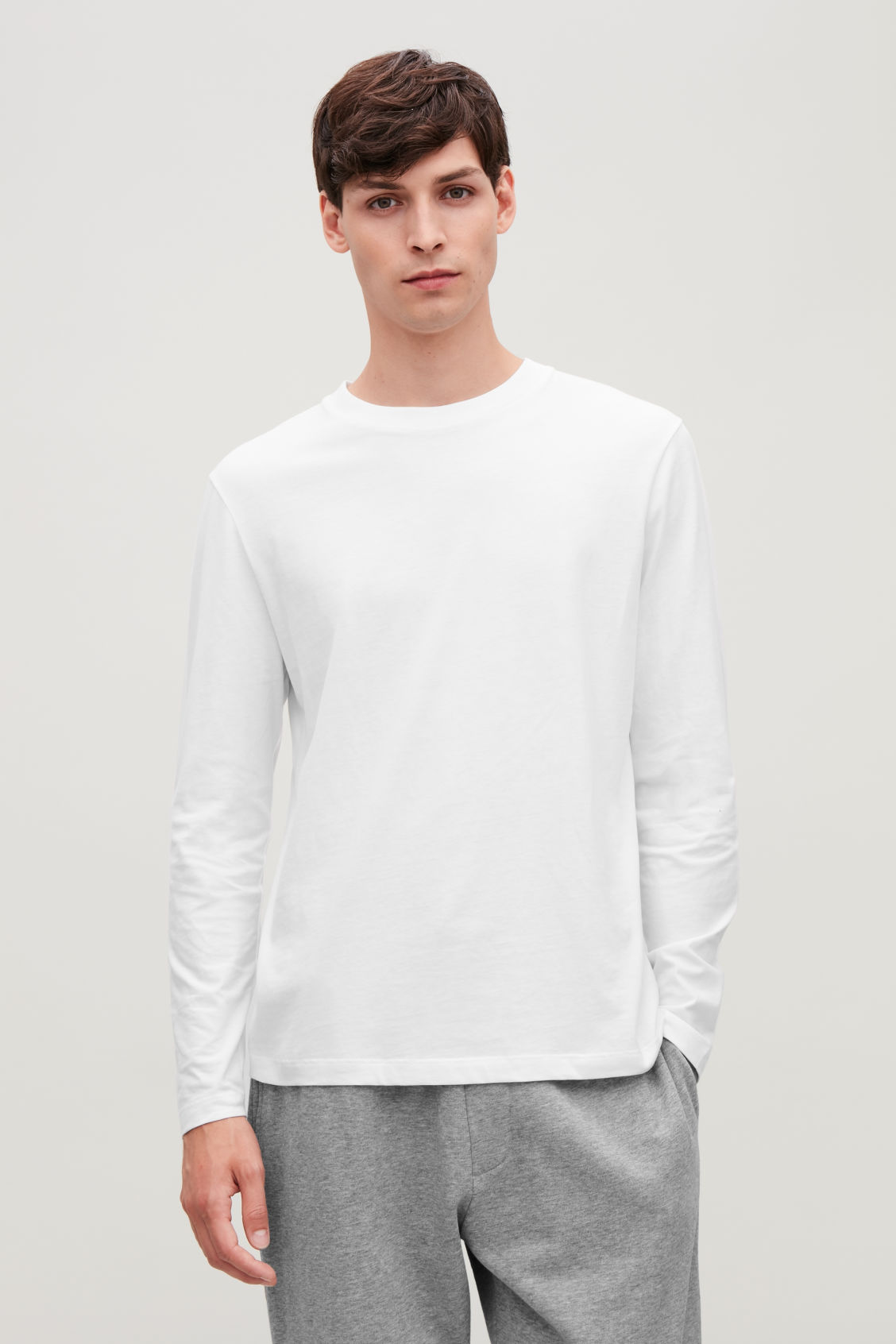 LONG-SLEEVED COTTON T-SHIRT - White - Long-sleeve T-shirts ...