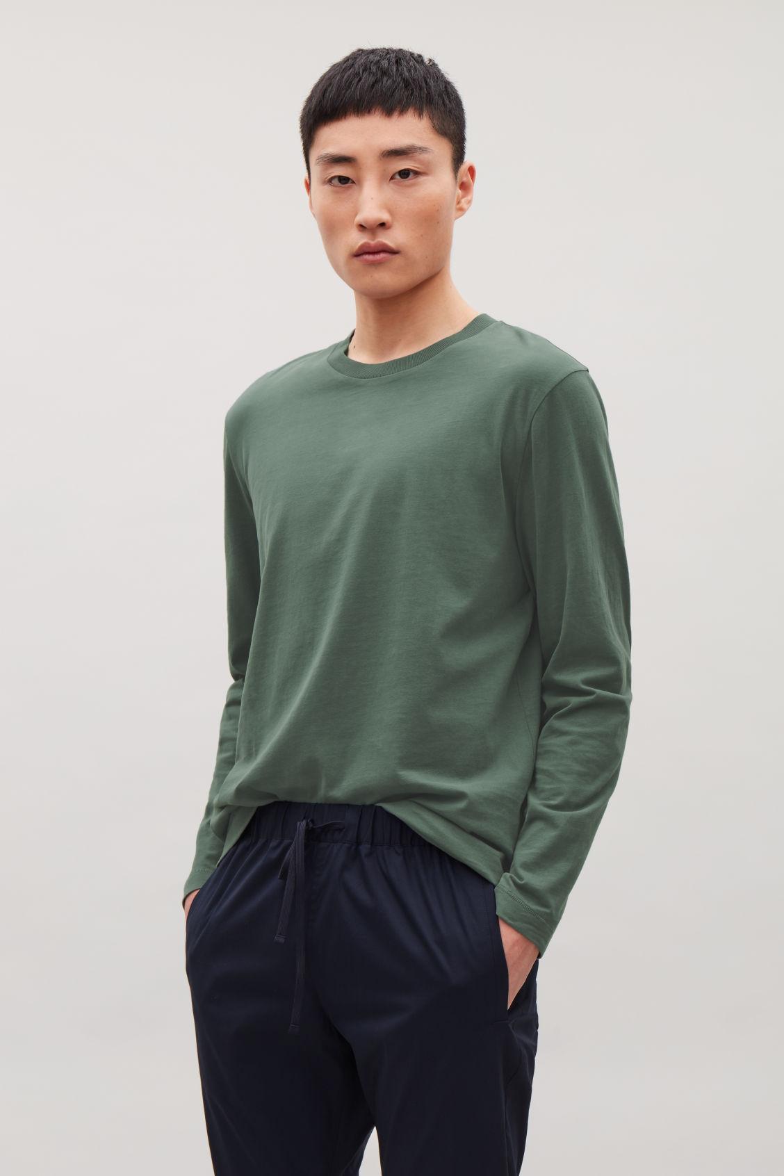 Long Sleeved Cotton T Shirt Khaki Green Long Sleeve T