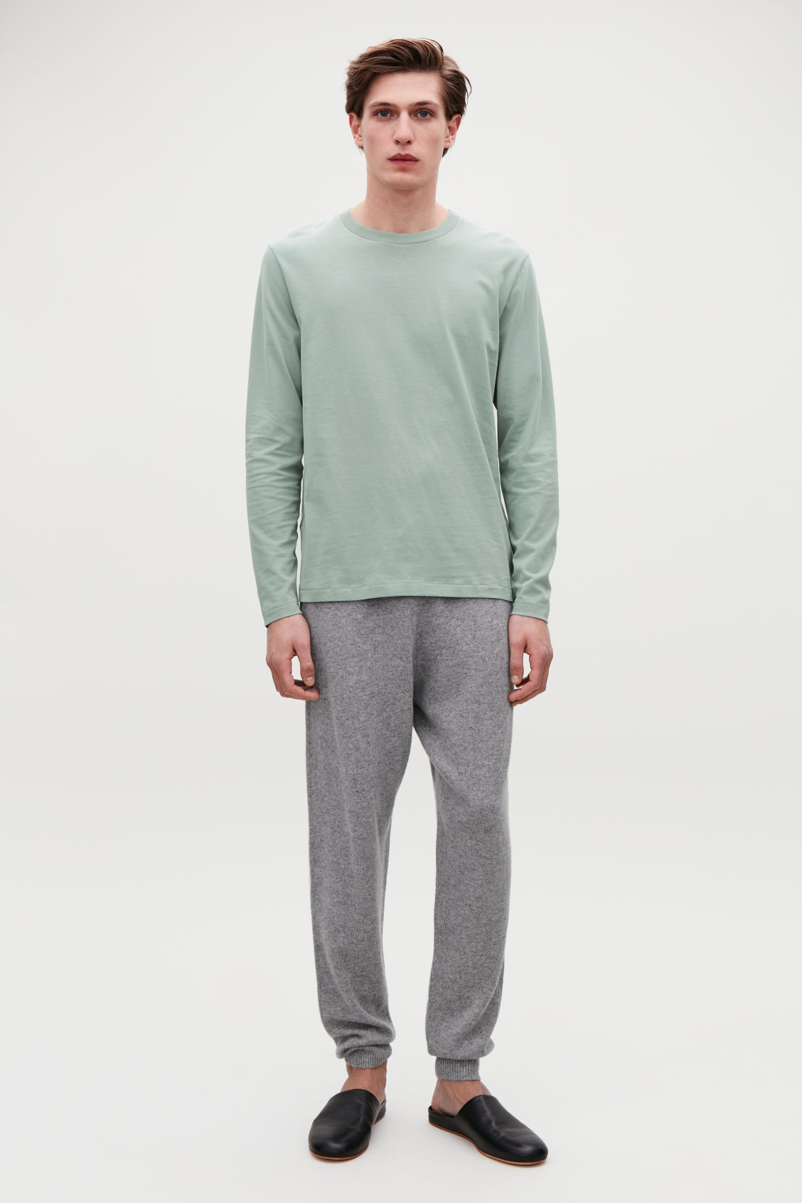 Model front image of Cos long-sleeved cotton t-shirt  in green