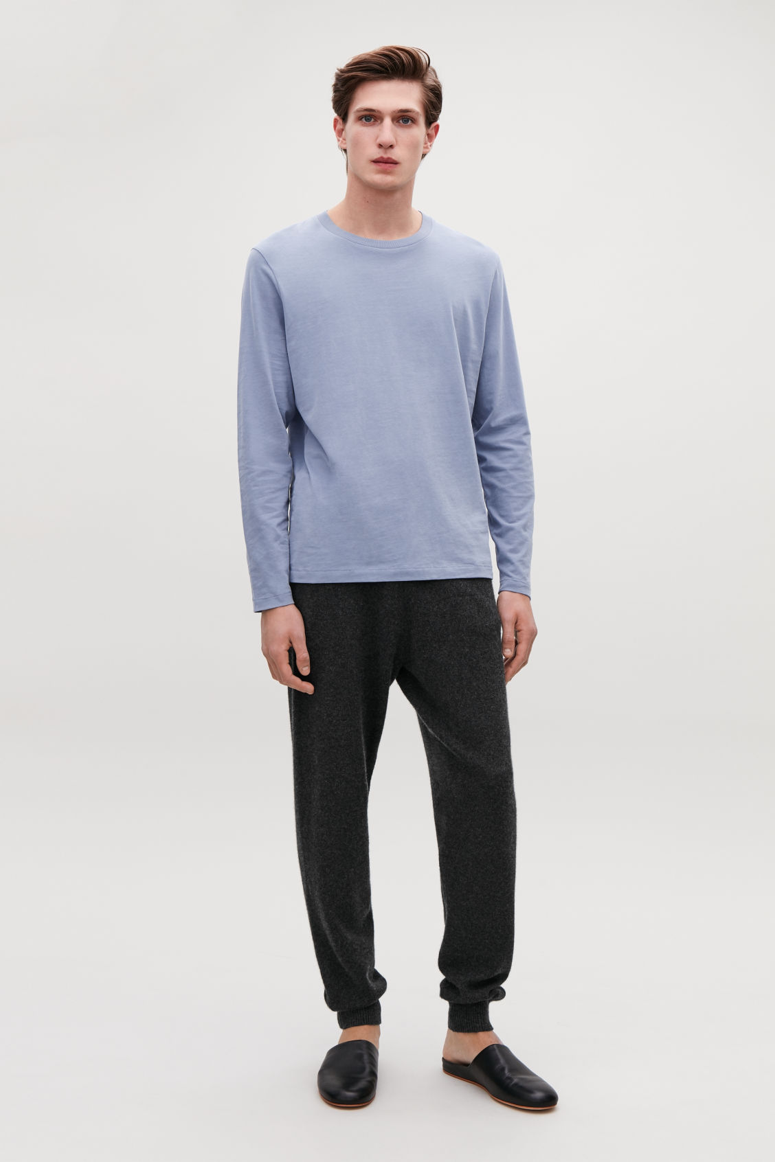 Model front image of Cos long-sleeved cotton t-shirt  in blue