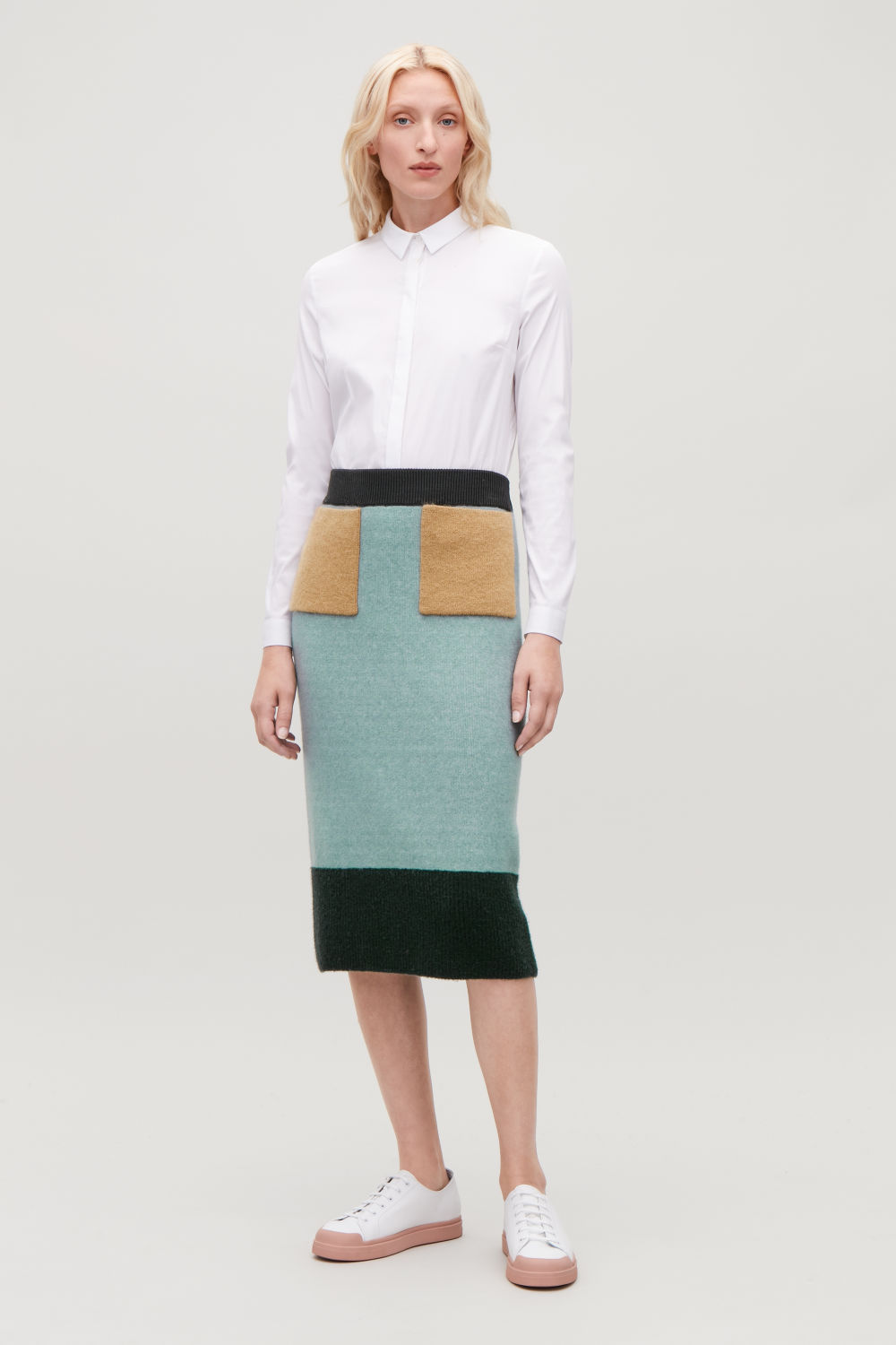 COLOUR-BLOCK WOOL SKIRT