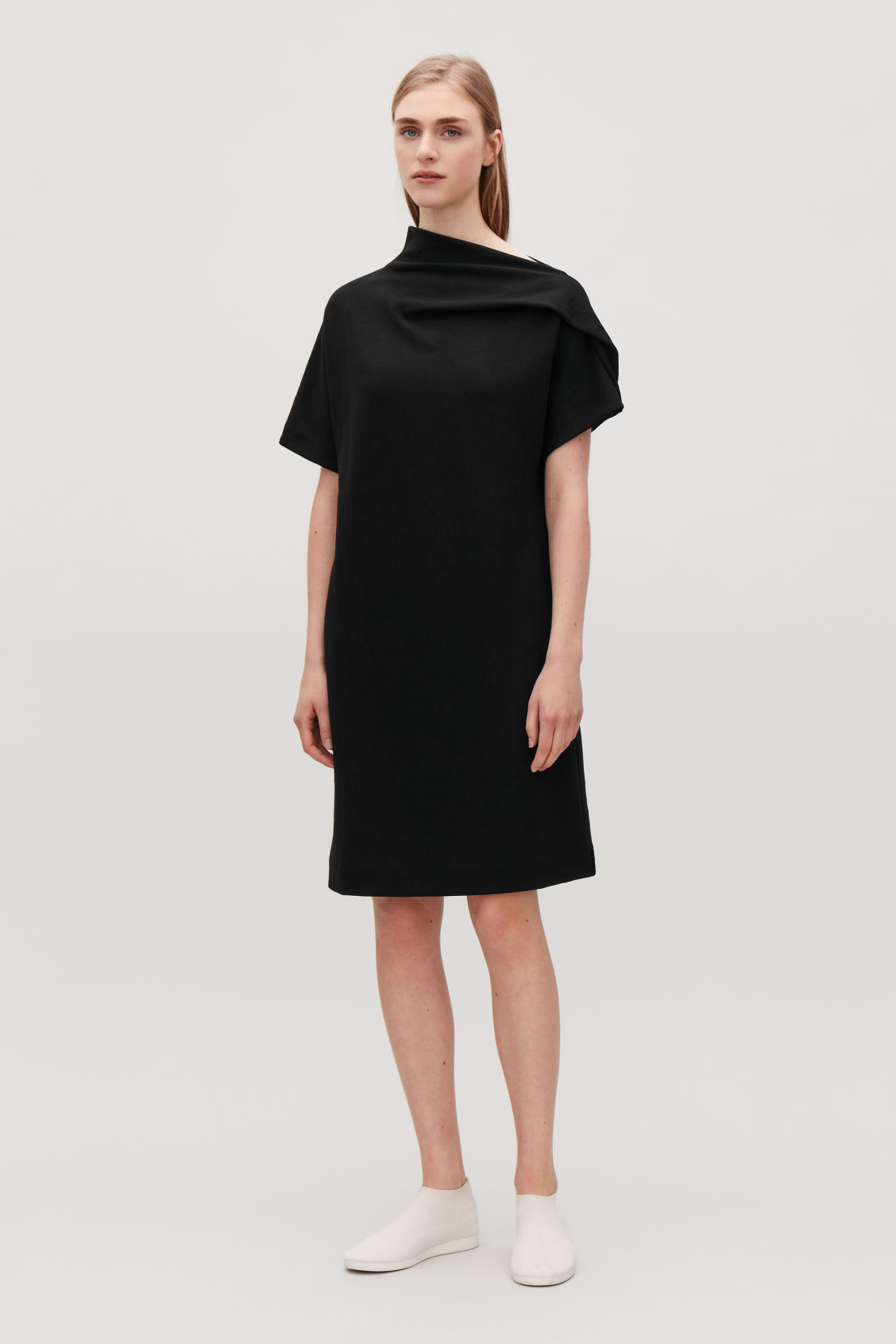 Model front image of Cos draped-neck jersey dress in black