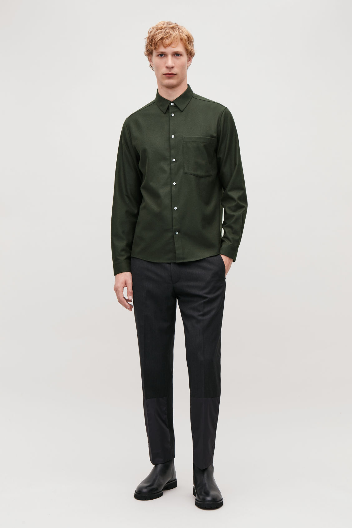 Model front image of Cos felt wool shirt  in green