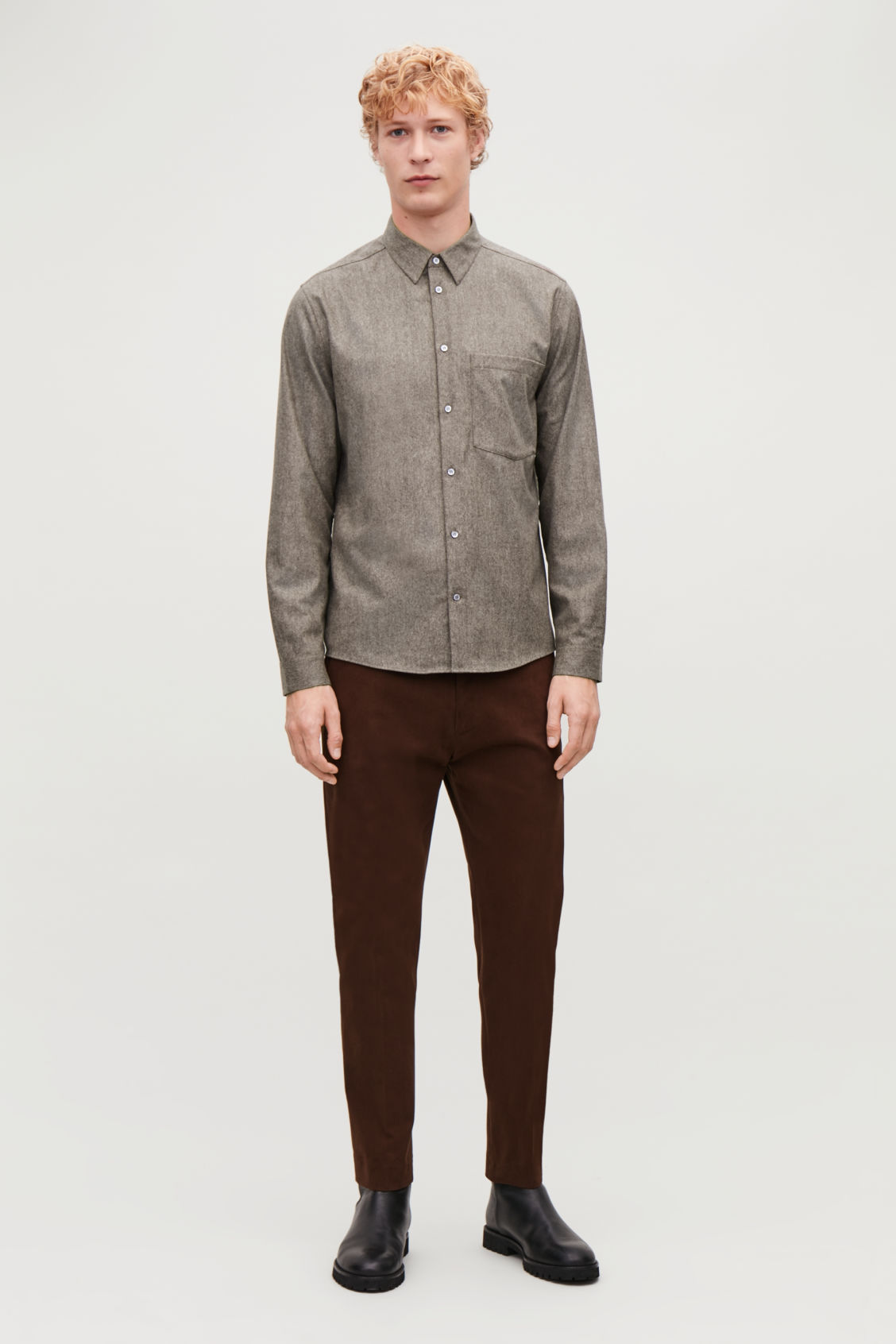 Model front image of Cos felt wool shirt  in brown
