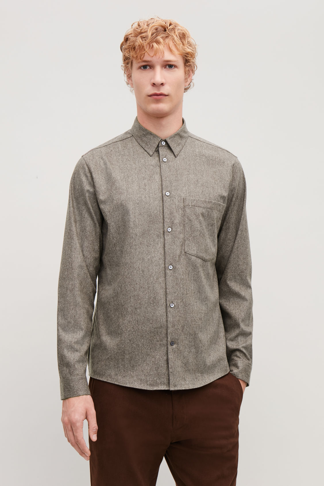 Model side image of Cos felt wool shirt  in brown
