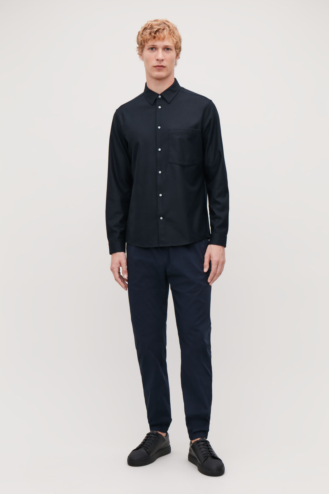 Model front image of Cos felt wool shirt  in blue