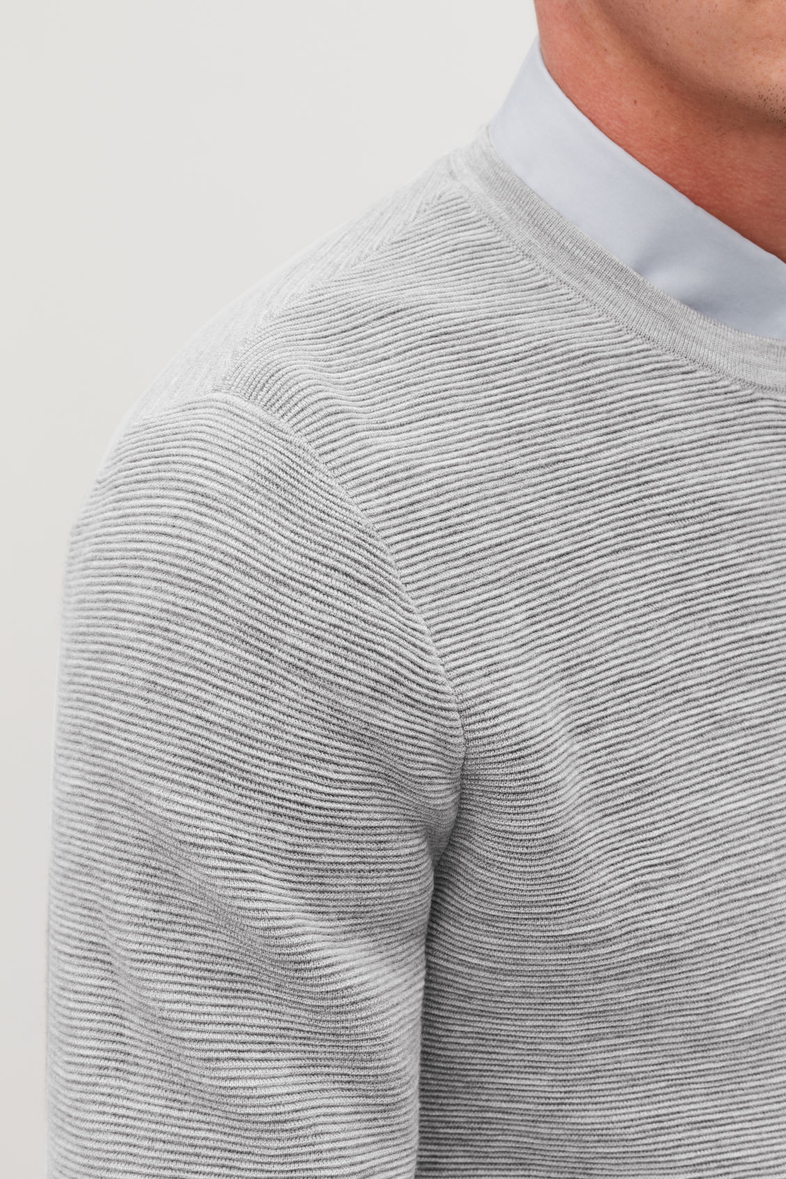 Model side image of Cos ripple-stitch knit jumper in grey