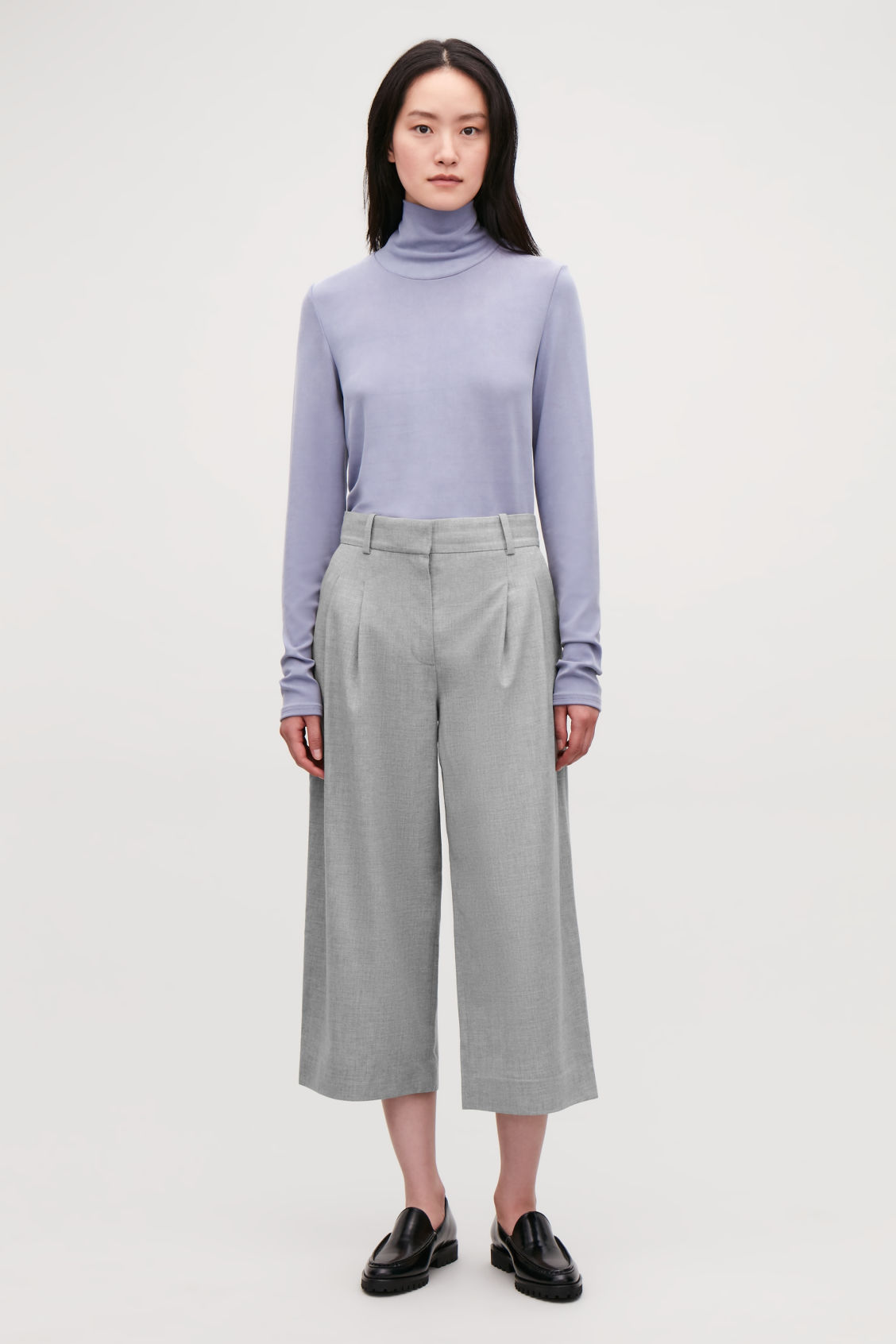 Model front image of Cos wide-leg flannel trousers  in grey