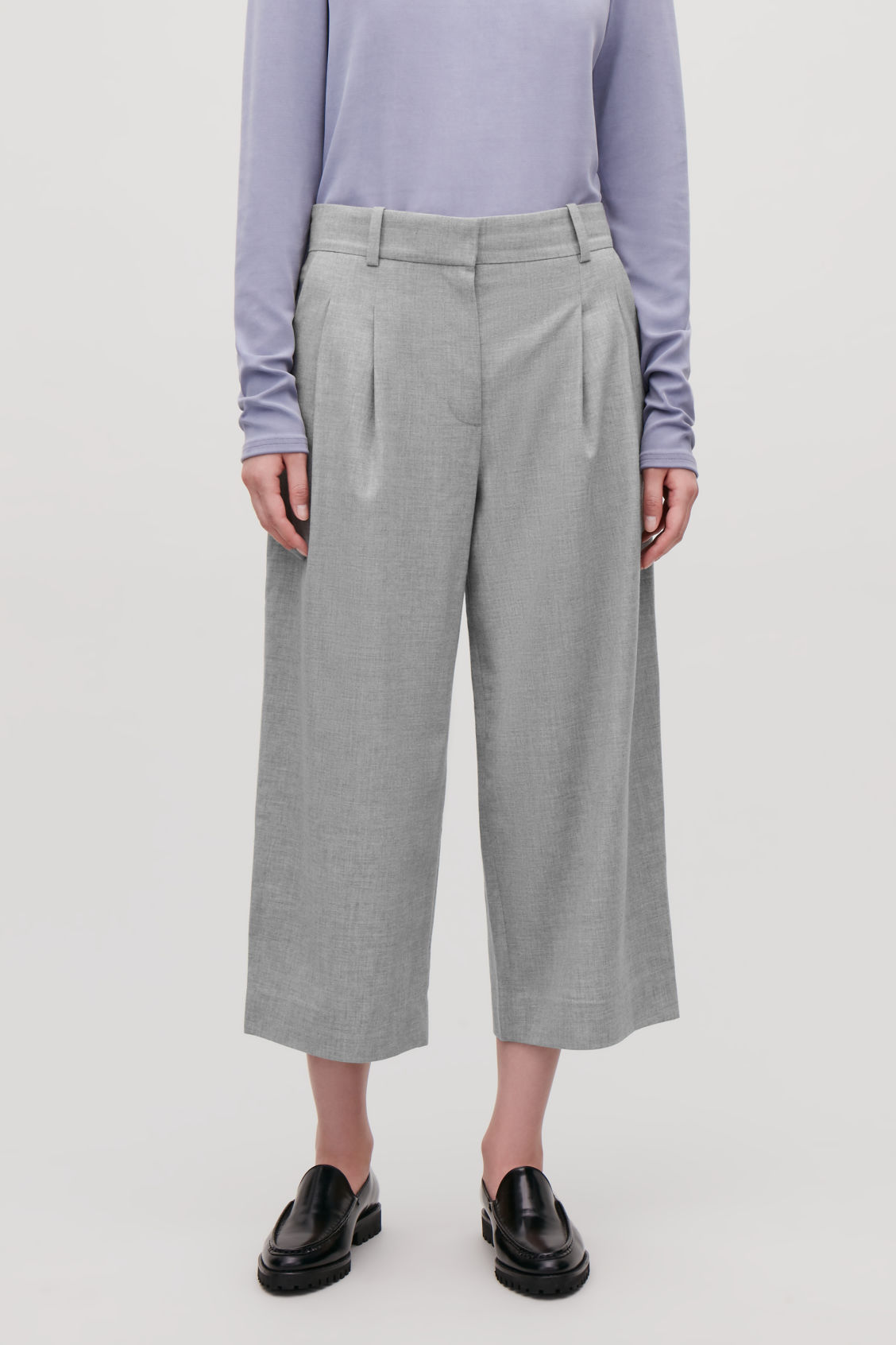 Model side image of Cos wide-leg flannel trousers  in grey