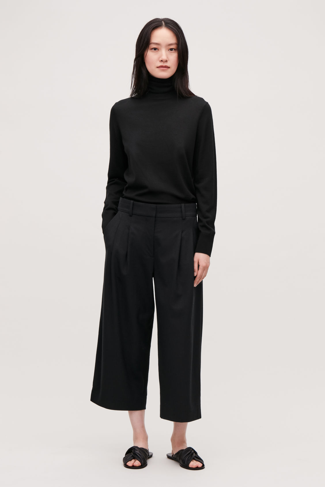 Model front image of Cos wide-leg flannel trousers  in black