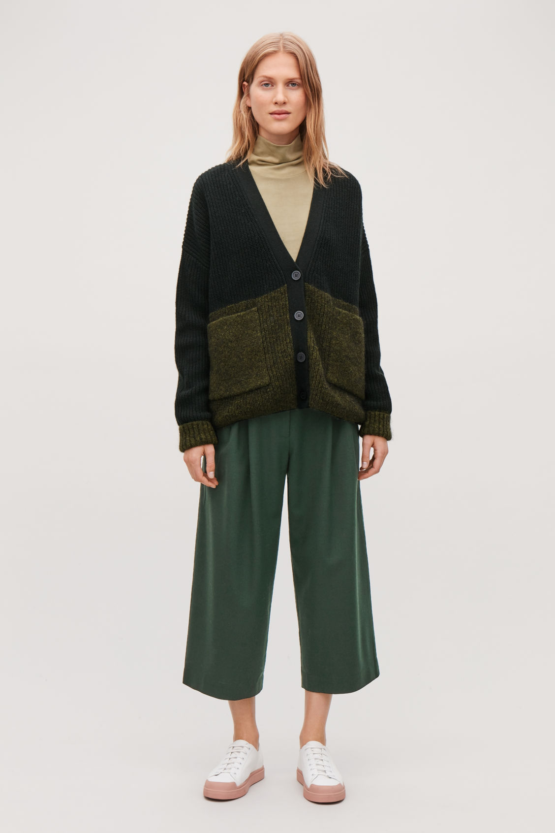 Model front image of Cos wide-leg flannel trousers  in green