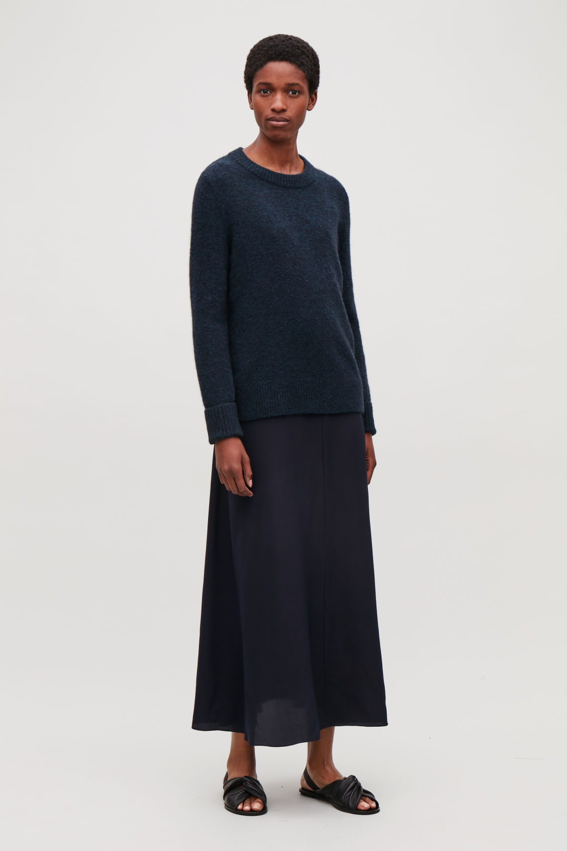 Model front image of Cos alpaca and wool jumper  in blue