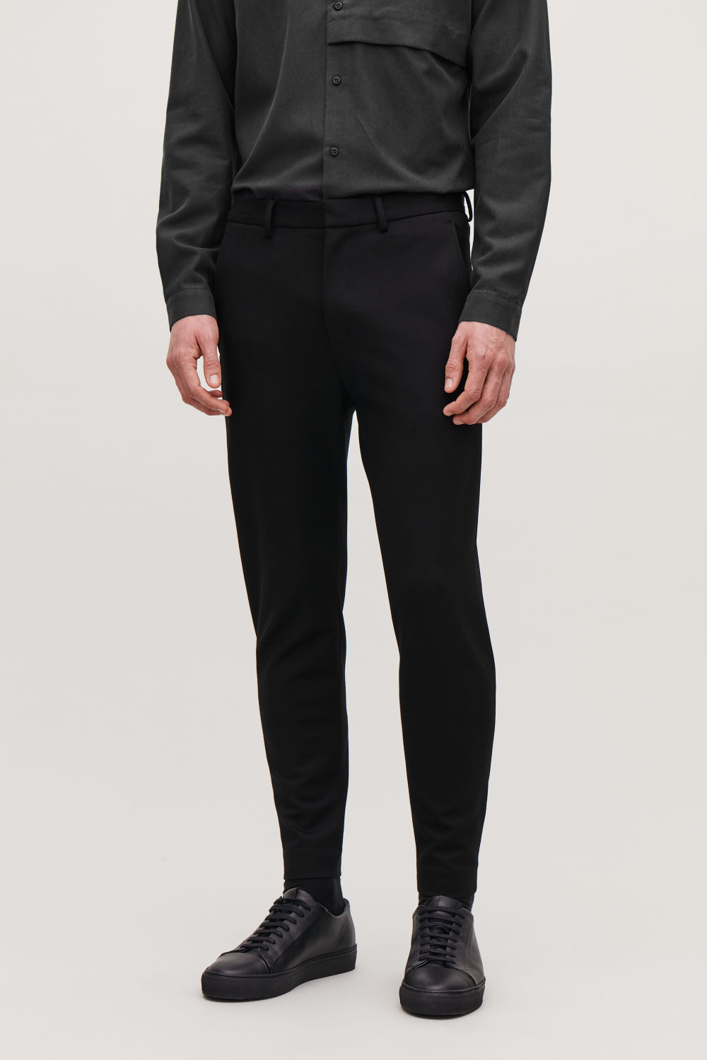 ZIP-CUFF JERSEY TROUSERS