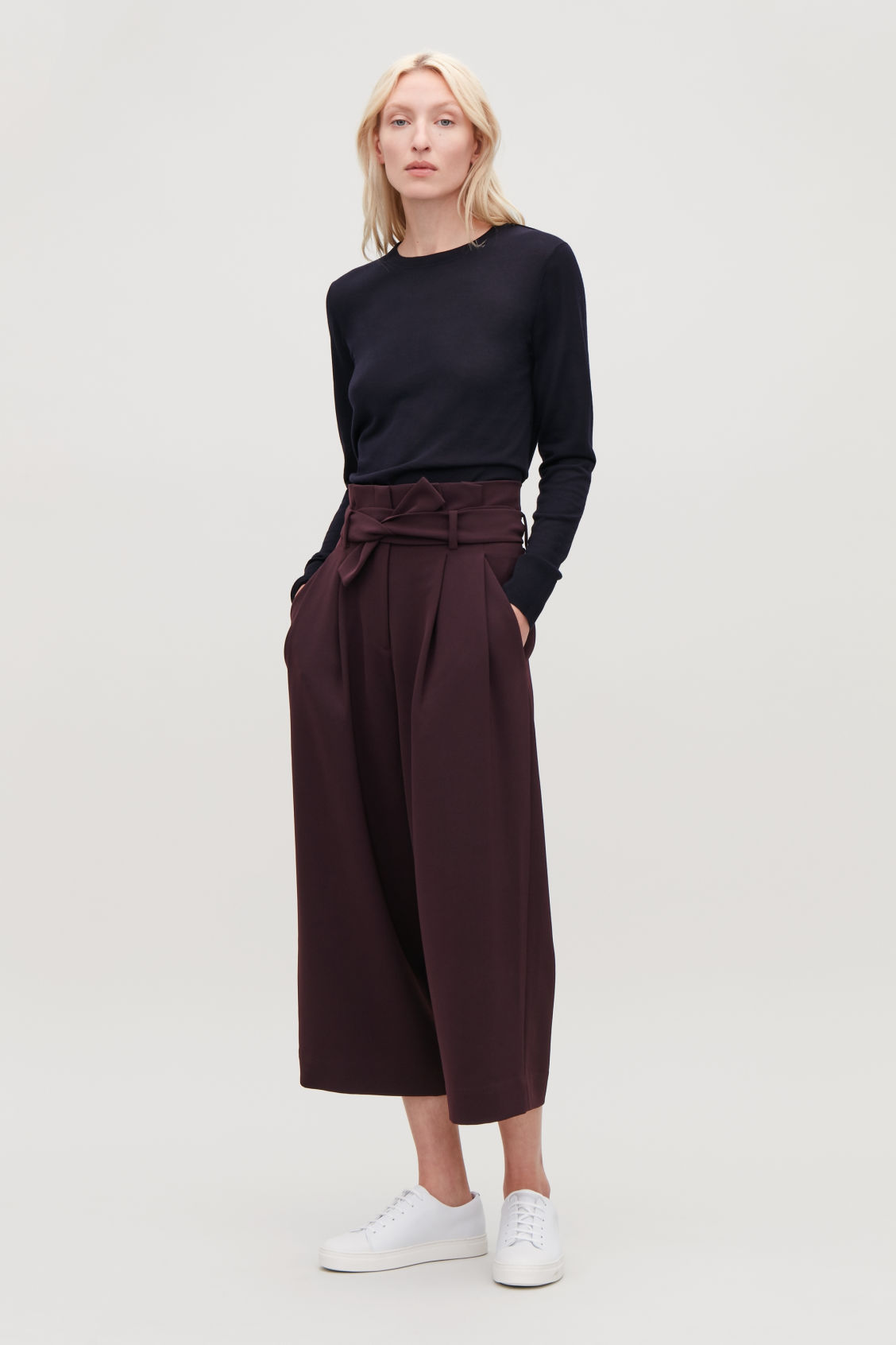 Model front image of Cos belted high-waist trousers in purple