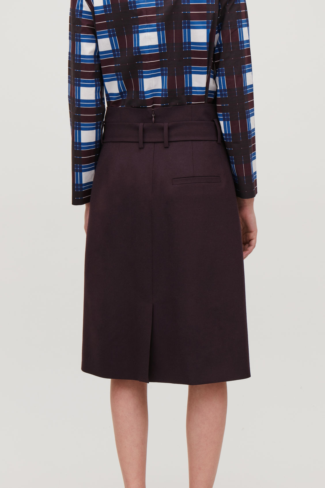Model side image of Cos wool skirt with paperbag waist  in purple