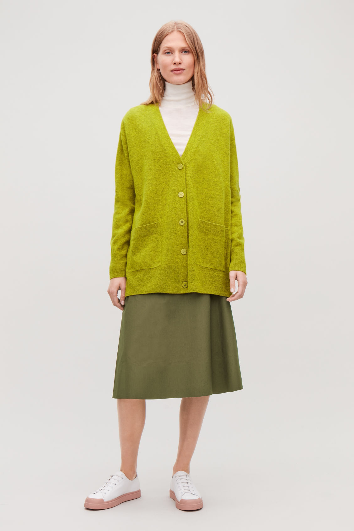 Model front image of Cos speckled oversized wool cardigan in yellow