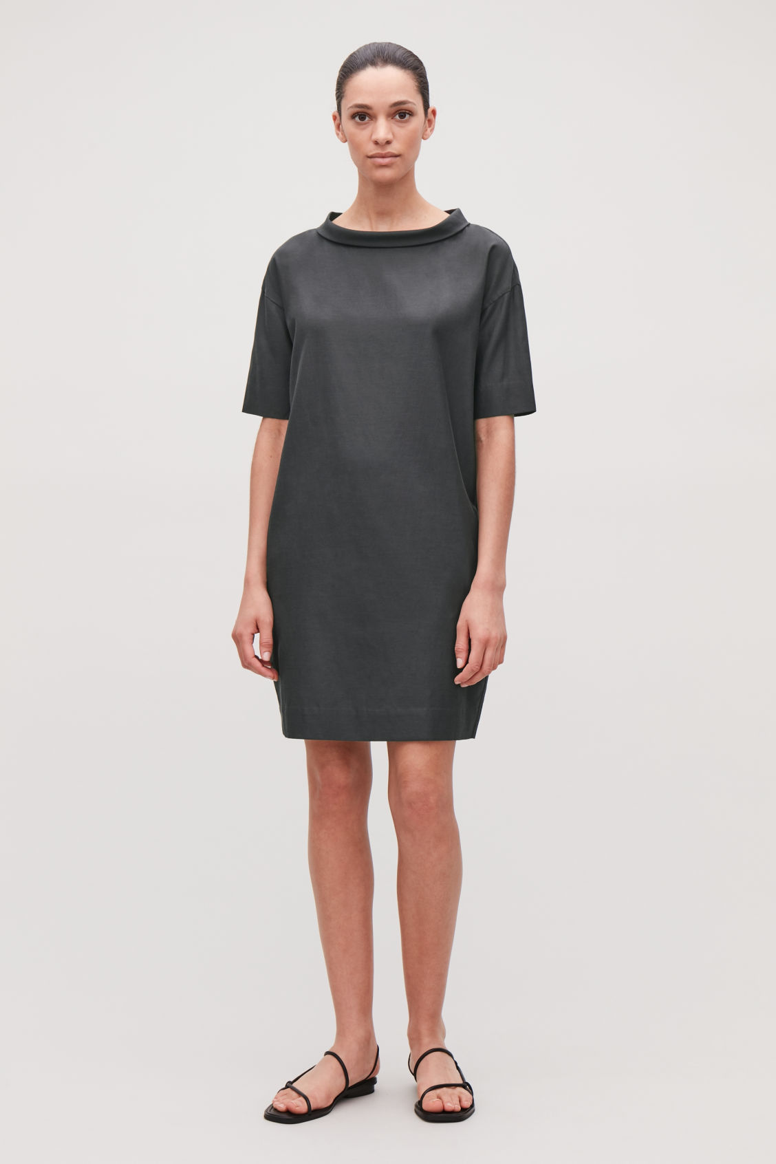 Model front image of Cos folded-collar draped dress in grey