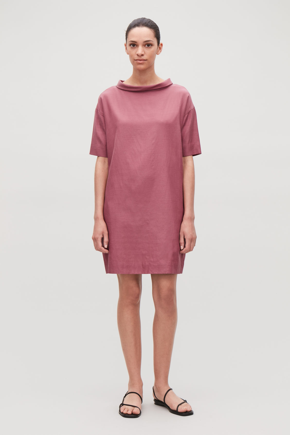 Model side image of Cos folded-collar draped dress in red