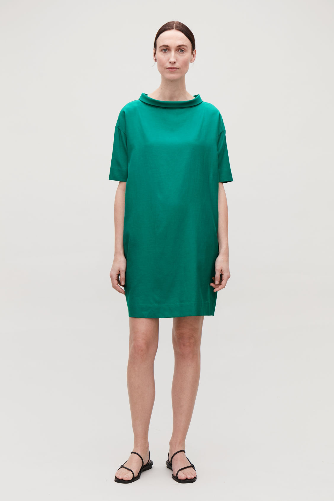 Model front image of Cos folded-collar draped dress in green