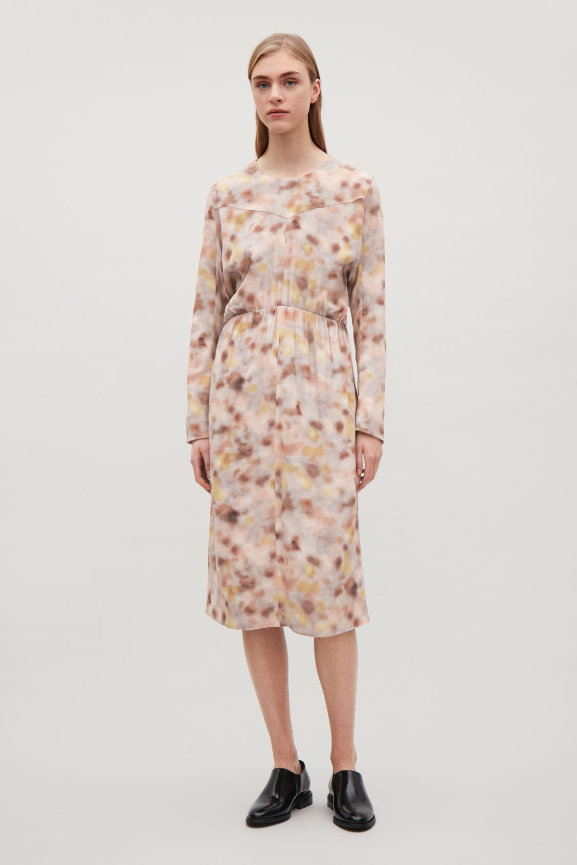 Model front image of Cos printed long-sleeve dress  in orange