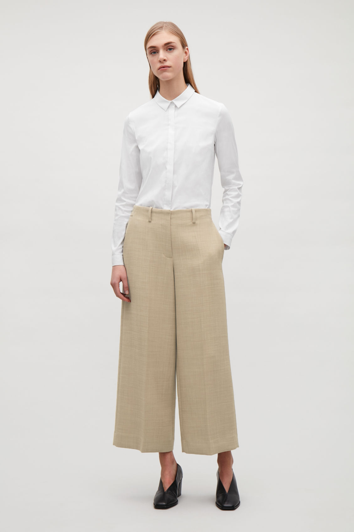 Model front image of Cos tailored wool culottes in beige