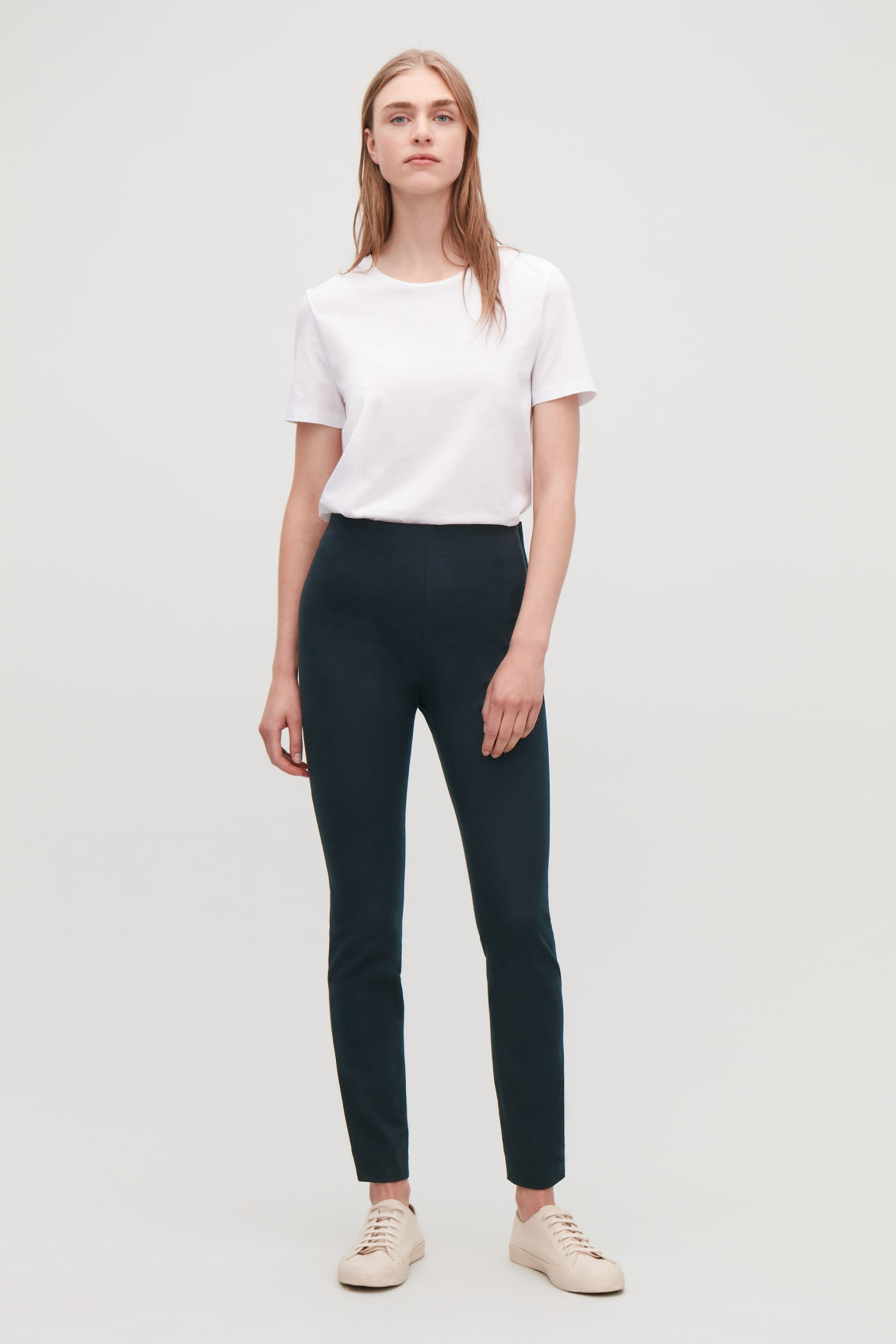 Model front image of Cos slim cotton-twill trousers in blue