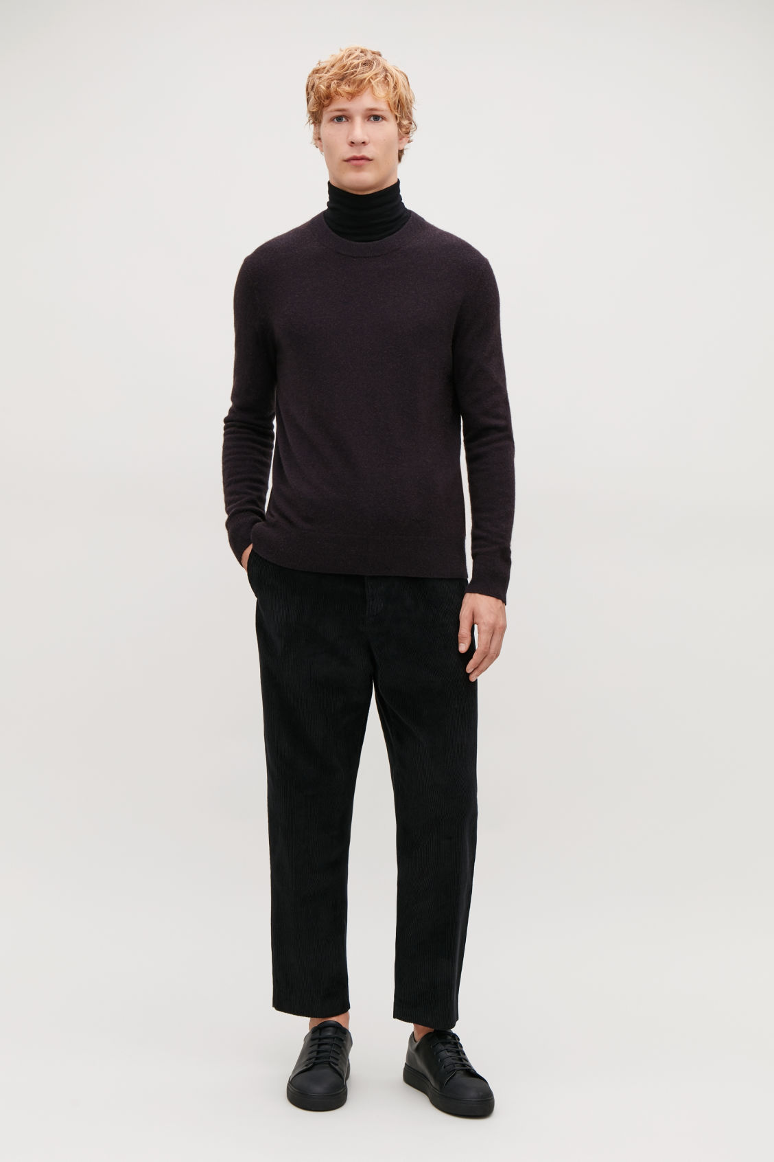 Model front image of Cos tapered corduroy trousers in black