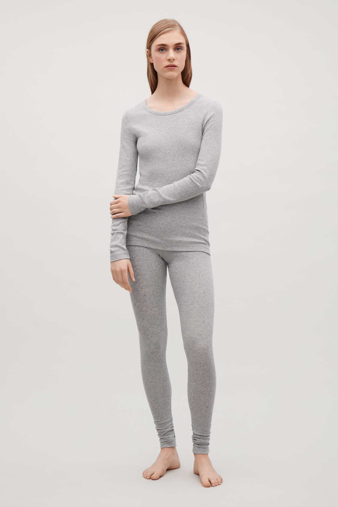 Model front image of Cos ribbed long-sleeve top  in grey