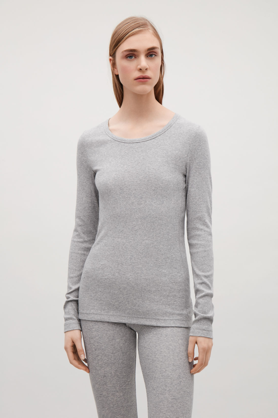 Model side image of Cos ribbed long-sleeve top  in grey
