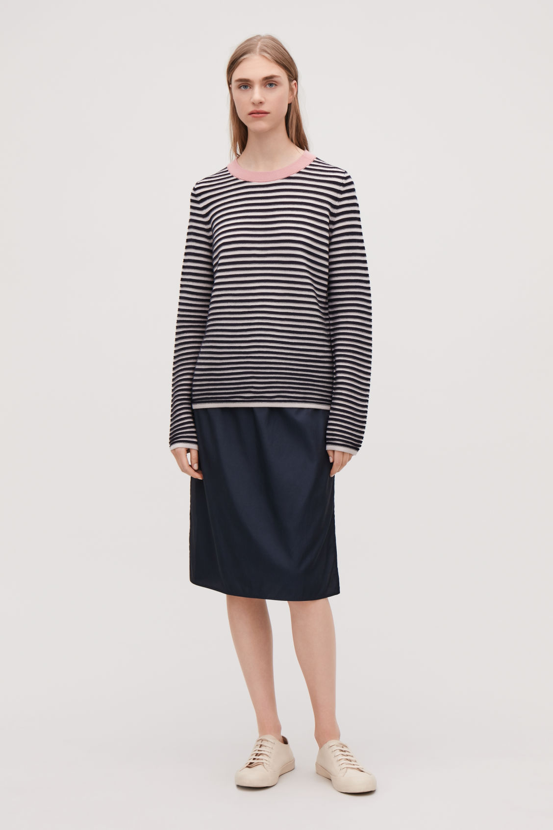Model front image of Cos striped fine-knit top in blue
