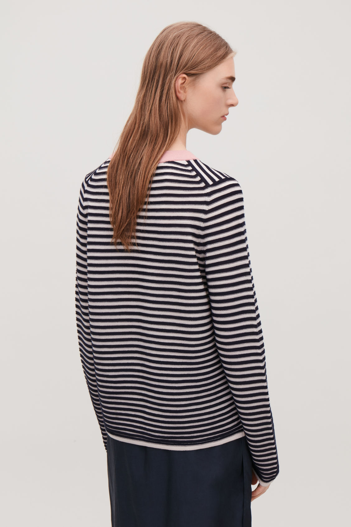 Model side image of Cos striped fine-knit top in blue