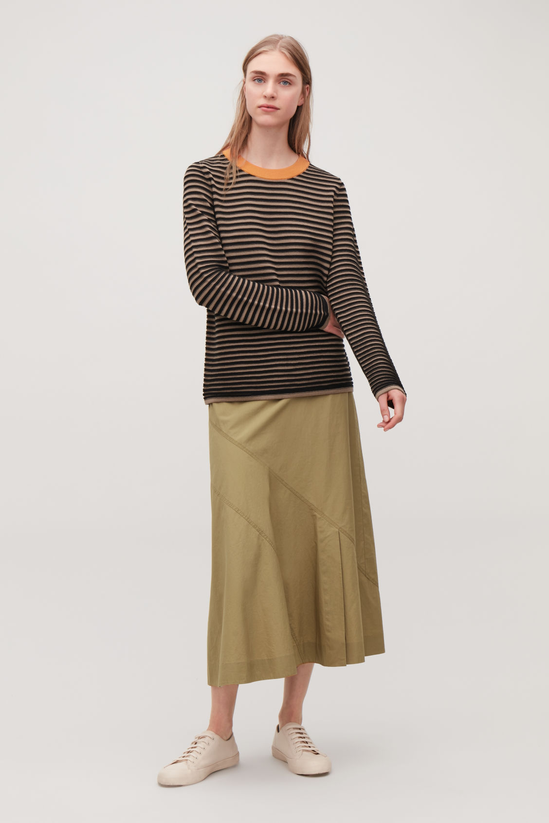 Model front image of Cos striped fine-knit top in brown