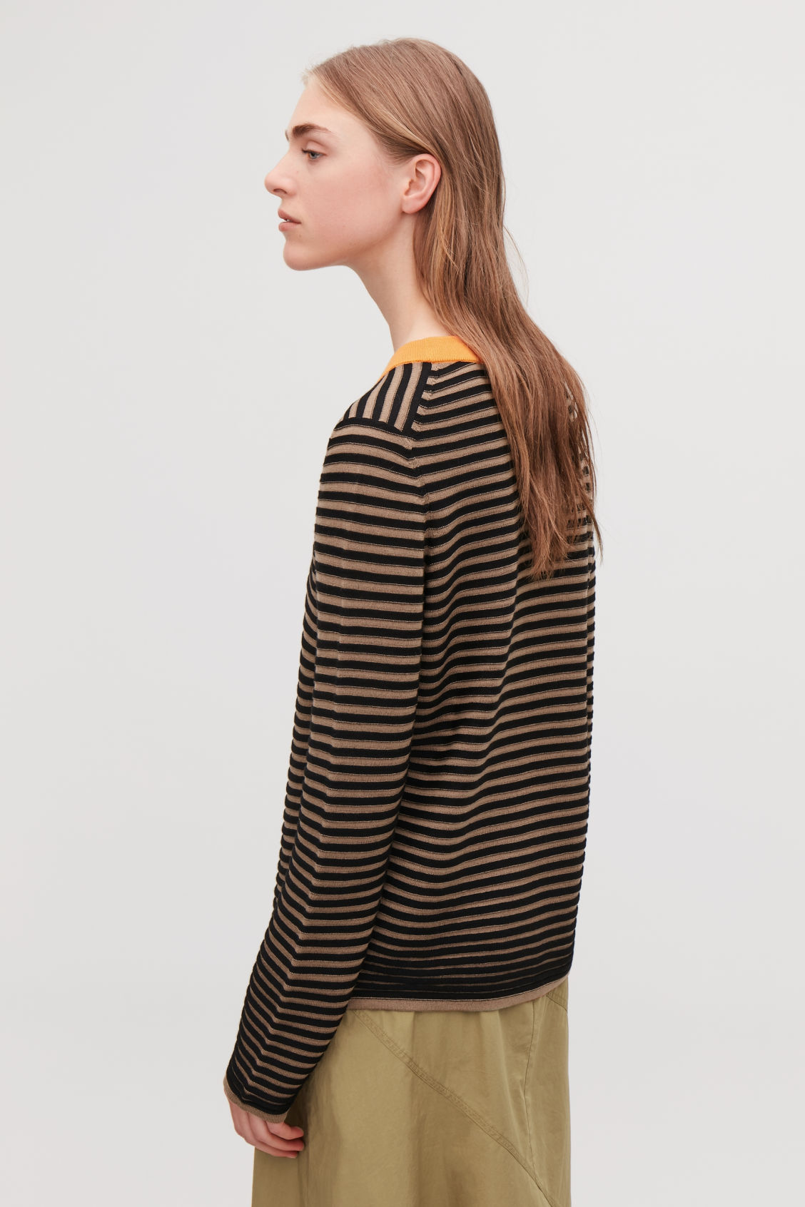 Model side image of Cos striped fine-knit top in brown