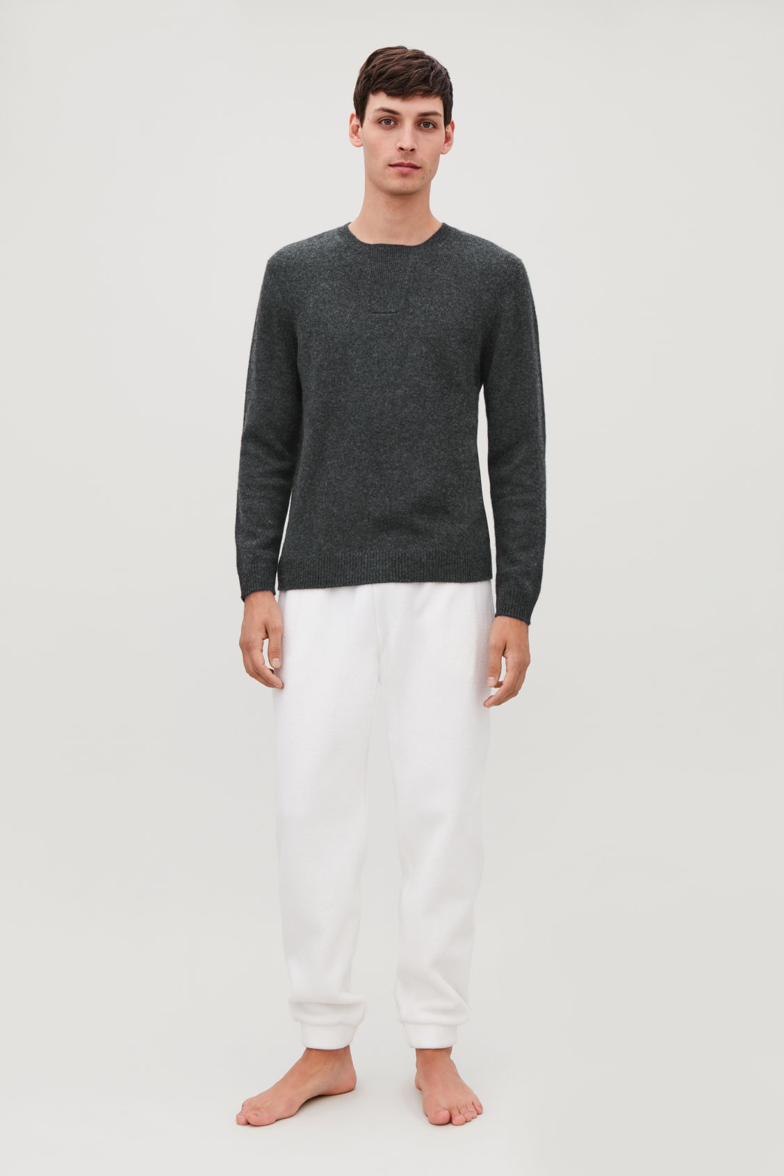 Model front image of Cos cashmere jumper with rectangle stitches in grey