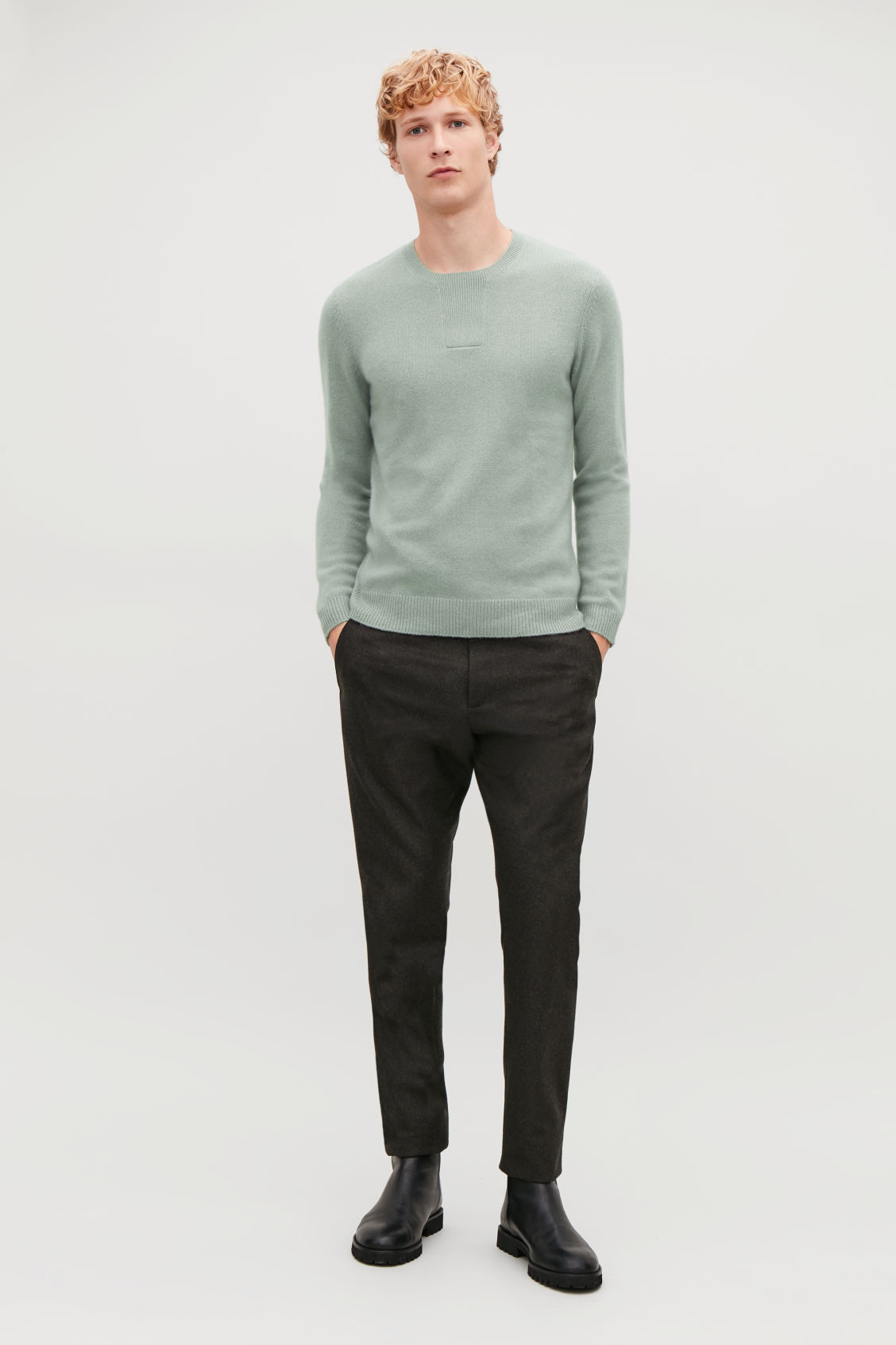 Model front image of Cos cashmere jumper with rectangle stitches in green