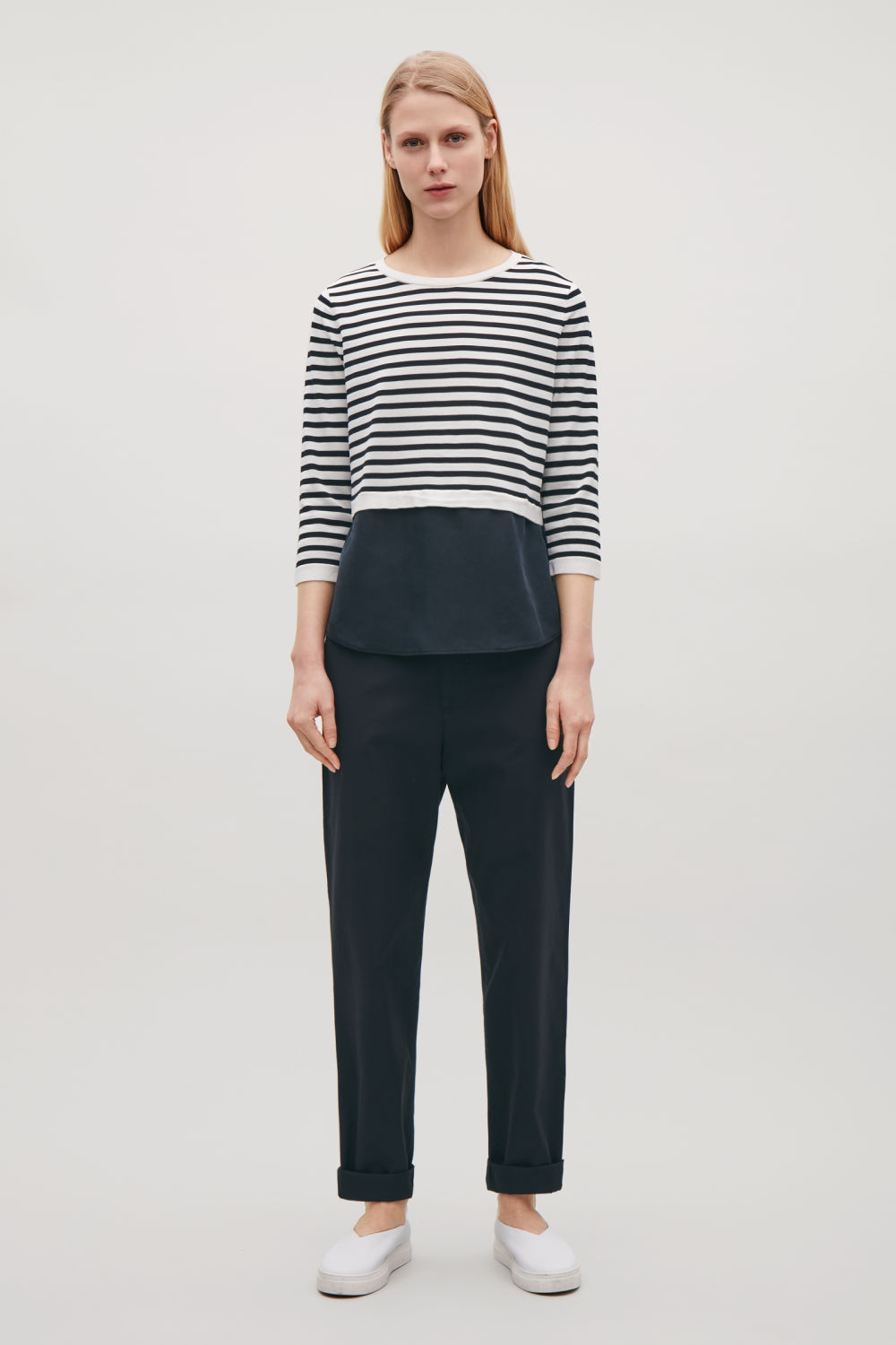 SILK-PANELLED KNIT TOP