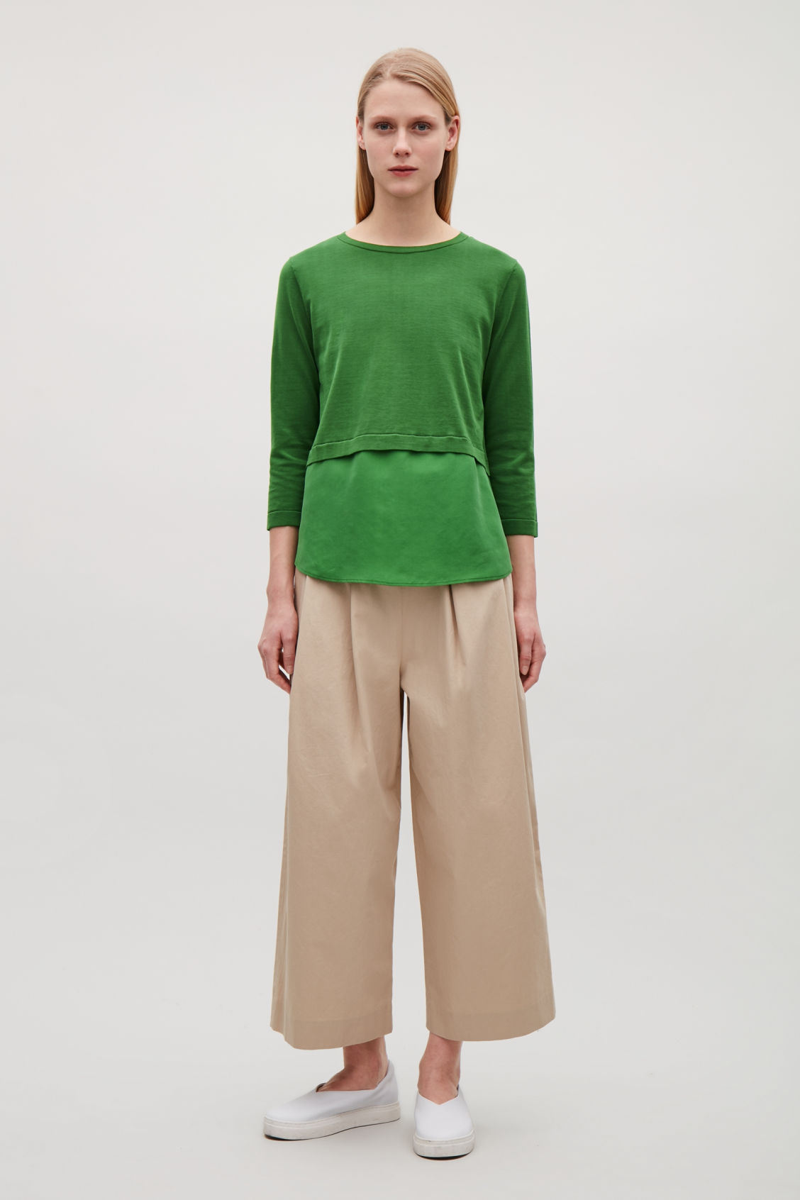 Cos SILK-PANELLED KNIT TOP