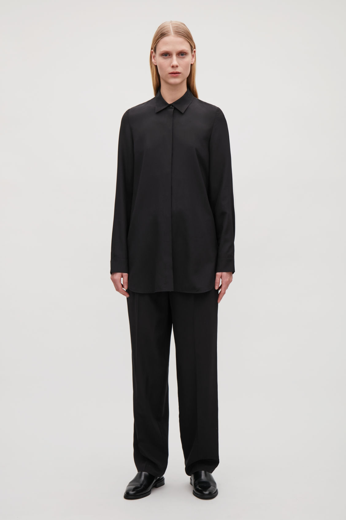 Model front image of Cos cocoon silk shirt  in black