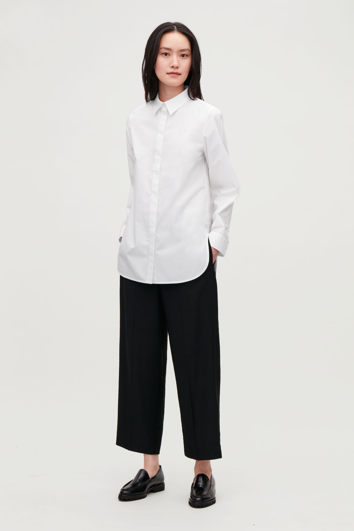 Model front image of Cos cocoon cotton-poplin shirt  in white