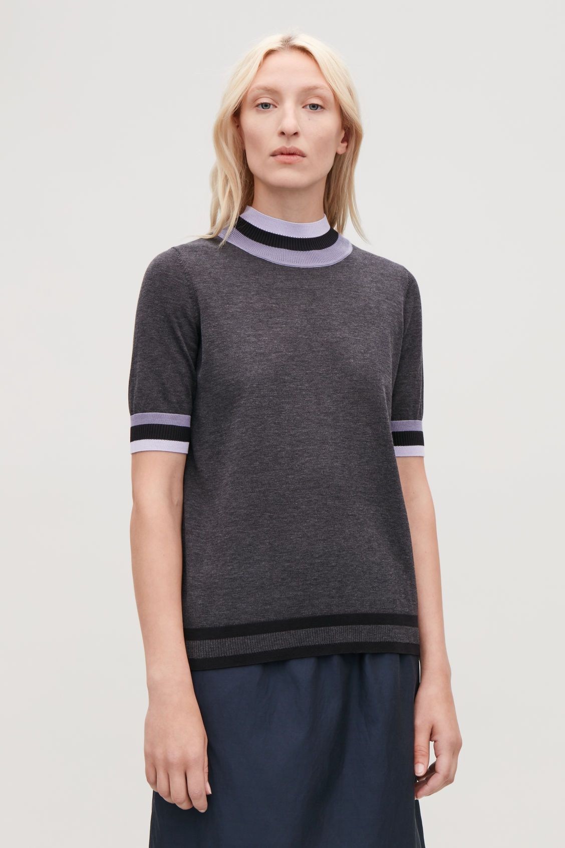 Model side image of Cos rib-detailed knitted top in grey