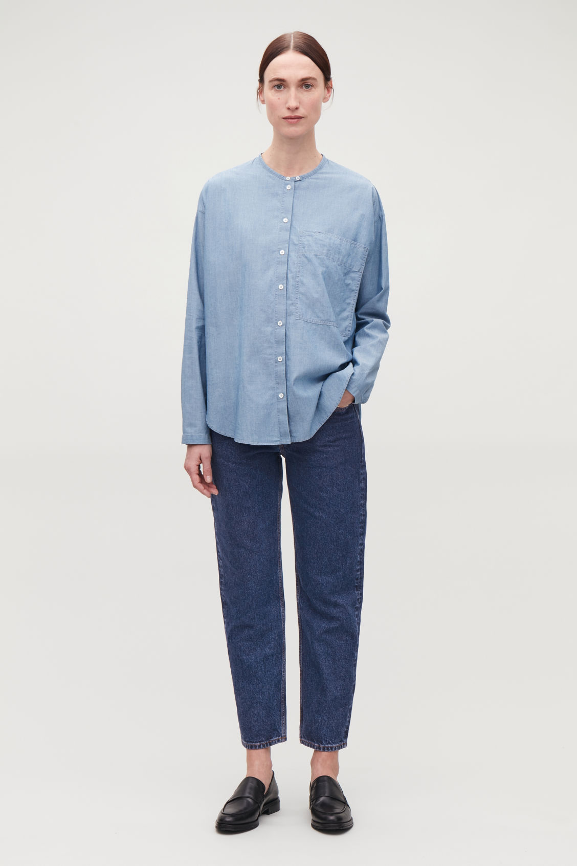 Model front image of Cos slim crop jeans in blue