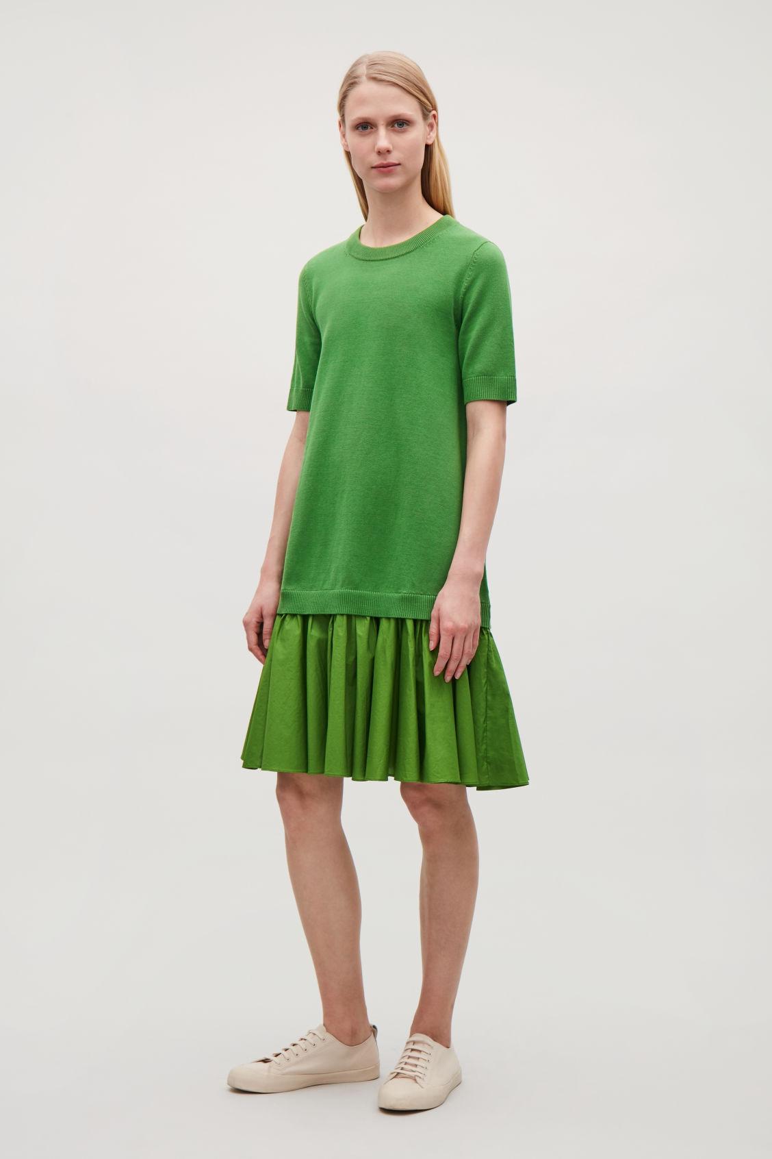 Cos PANELLED COTTON KNIT DRESS