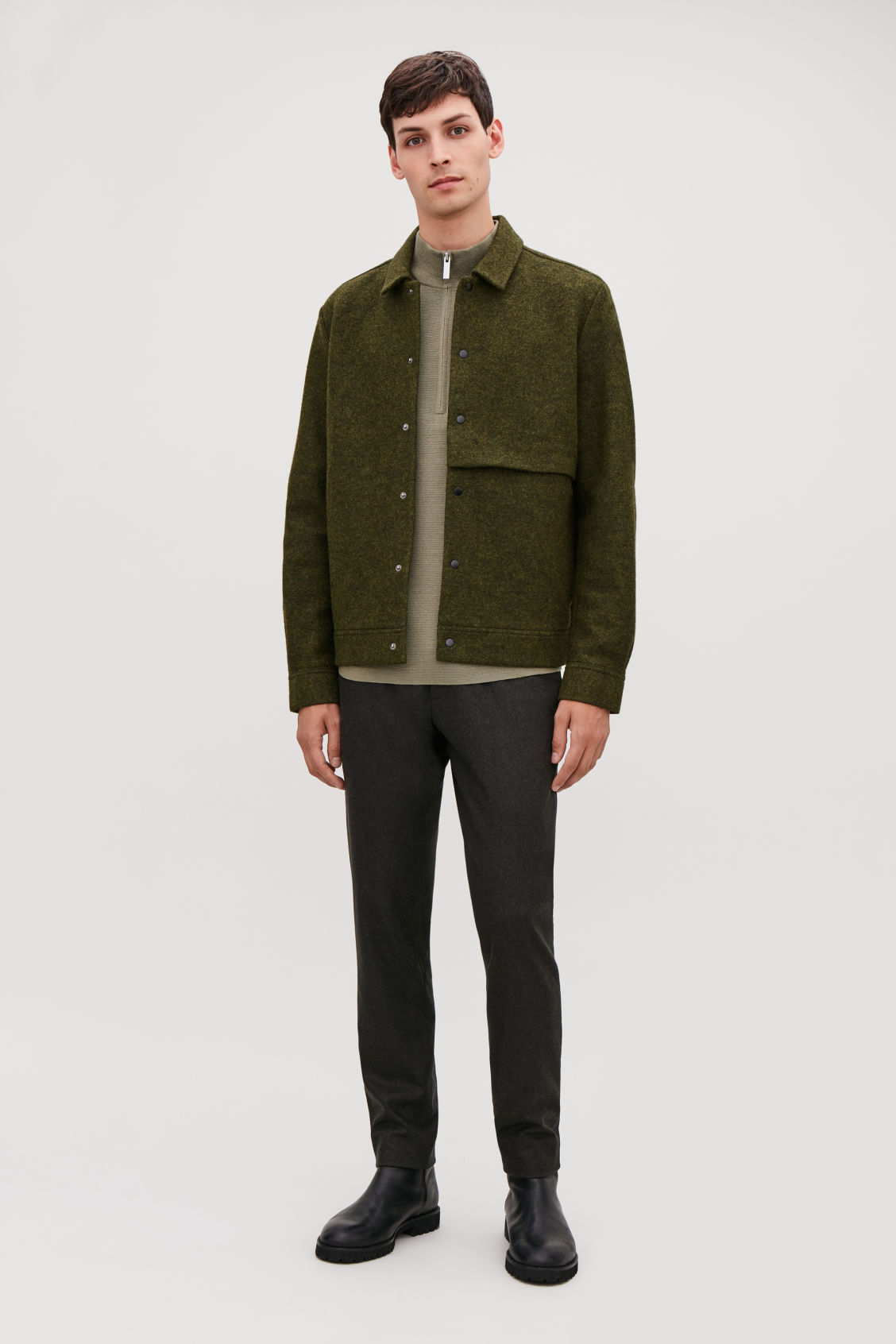Model front image of Cos boiled wool jacket in green