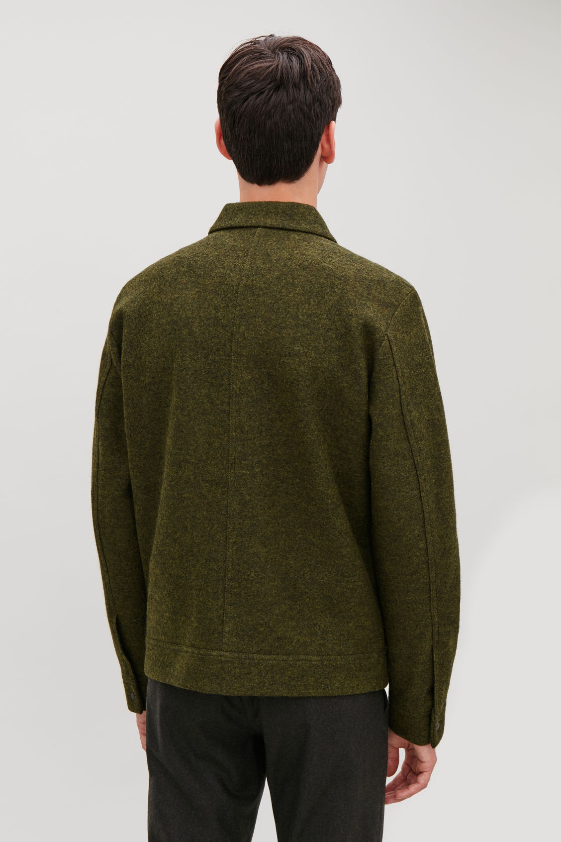 Model side image of Cos boiled wool jacket in green