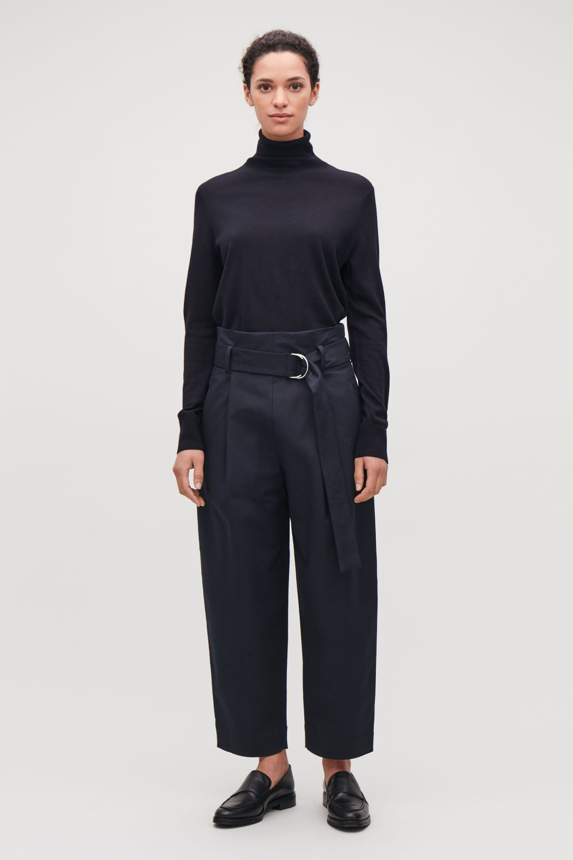 Model front image of Cos belted cotton trousers in blue