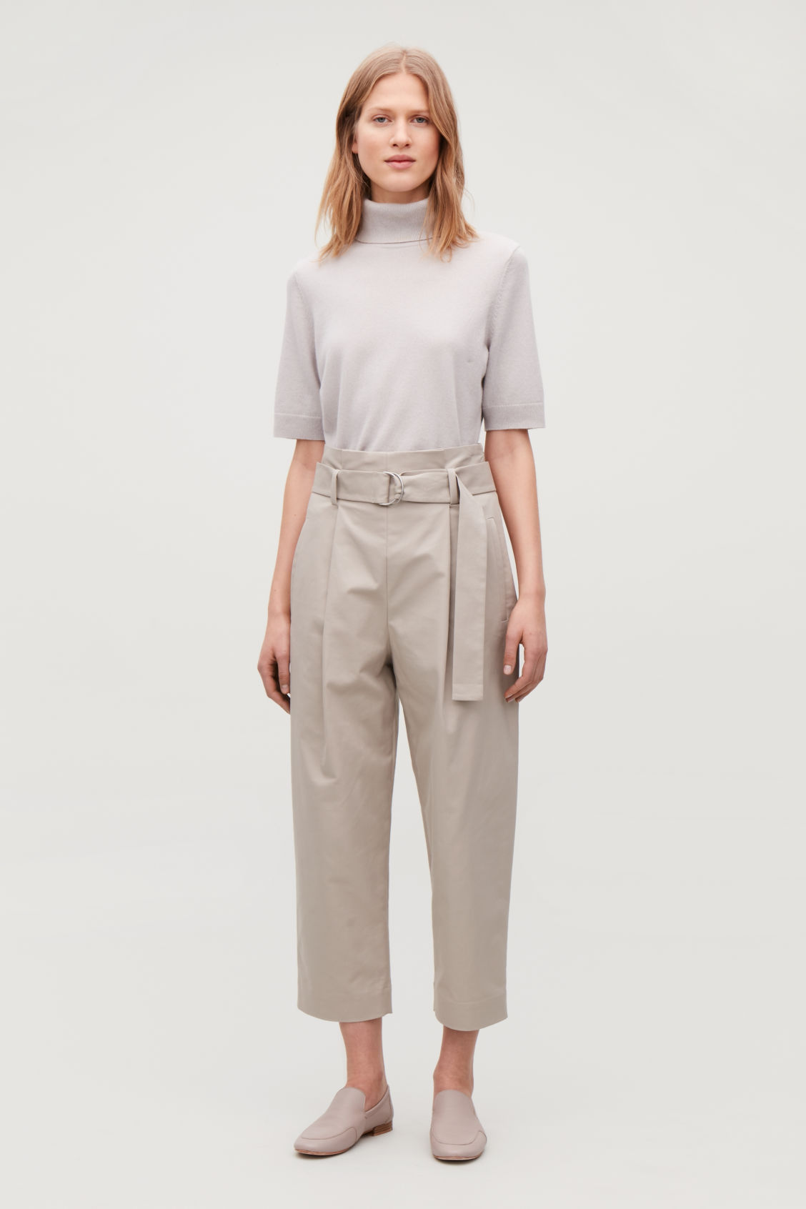 Model front image of Cos belted cotton trousers in brown