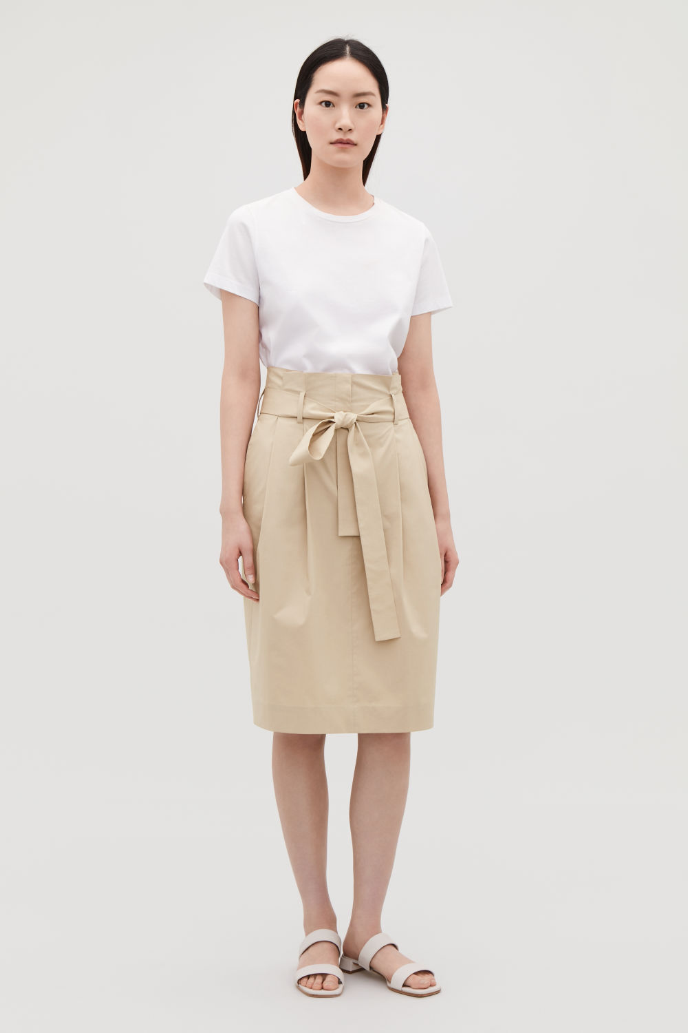 PAPERBAG-WAIST PENCIL SKIRT
