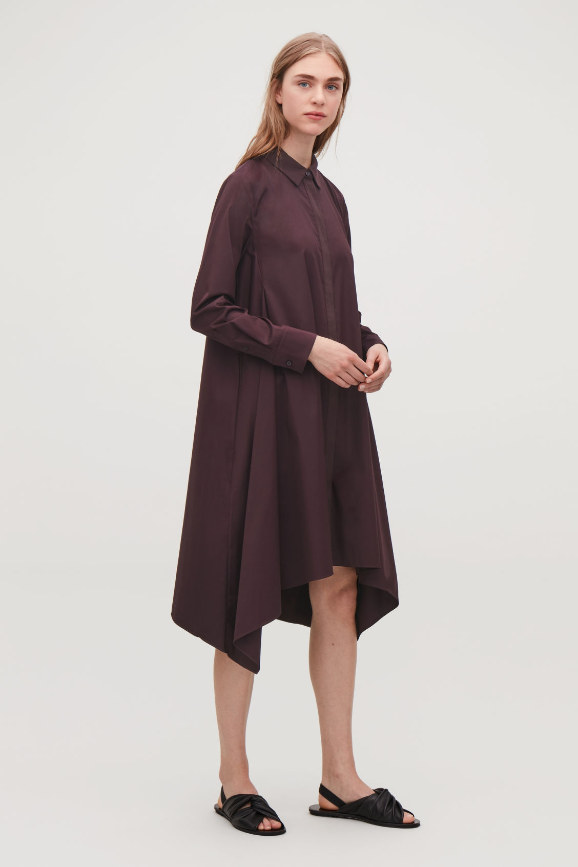 Model front image of Cos handkerchief-hem shirt dress in purple